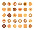 Big set of cookies and biscuits. Isolated on white background.