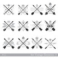 Big set of cross arrows with decorative element Royalty Free Stock Photo