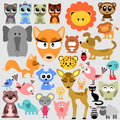 Big set of cute animals various Stock Images