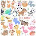 Big set of cute cartoon animals illustration. Royalty Free Stock Photo
