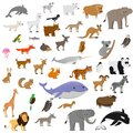 big set of cute cartoon animals isolated on white background, vector illustration for kids Royalty Free Stock Photo