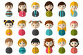 Big set of different avatars of children. Boys and girls on a white background. Minimalistic flat modern icon set portraits.