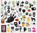 Big set of different cute monsters vector icons for your design Royalty Free Stock Photos