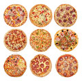 Big set of different pizzas Royalty Free Stock Photo