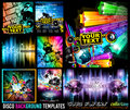 Big Set of Disco Club Flyer Template for your Music Event. Royalty Free Stock Photo