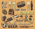 Big set of elements for the design of vintage posters