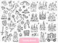 Big set of a fashion fairy tale and magic objects isolated on white background.