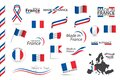 Big set of French ribbons, symbols, icons and flags isolated on a white background, Made in France, Welcome to France