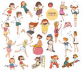 Big set of fun kids illustrations in various summer activities on playground. Girls playing outdoors, smiling, hugging, jumping.