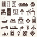 Big set of furniture and home related silhouettes and icons appliance Royalty Free Stock Photos