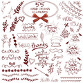 Big set of 55 hand drawn design elements. VECTOR. Red on white with realistic bow Royalty Free Stock Photo