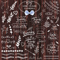 Big set of 55 hand drawn design elements. VECTOR. White on wooden background with realistic bow Royalty Free Stock Photo