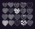 Big set of hand drawn hearts. Valentine vector sketch doodle. Graphic design elements. Trendy textures, lines, dots