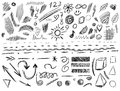 Big set of 105 hand-sketched design elements, VECTOR illustration isolated on white. Black scribble lines. Royalty Free Stock Photo