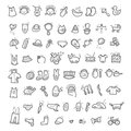 Big set of handwritten icons of childhood things