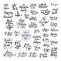 Big set of handwritten positive inspirational quotes brush typog