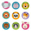 Big set head of animals icons. Vector collection funny face of animals