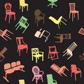 Big set of home chair silhouettes seamless Stock Images