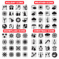 Big set of icons elegant vector holiday christmas snowflakes and weather Royalty Free Stock Photo