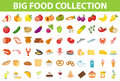 Big set icons food, flat style. Fruits, vegetables, meat, fish, bread, milk, sweets. Meal icon on white Royalty Free Stock Photo