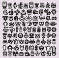 Big set of icons with monsters and robots faces vector illustration Royalty Free Stock Photo
