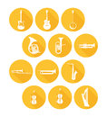 Big Set Icons of Musical Instruments Royalty Free Stock Photo