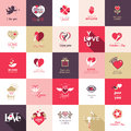 Big set of icons for valentines day mothers wedding love and romantic events Stock Photography