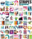 Big set of infographic modern templates lines stripes ribbons for banners business backgrounds presenations Royalty Free Stock Photo