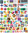 Big set of infographic modern templates squares geometric shapes for banners business backgrounds presenations Stock Images