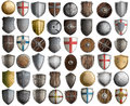 Big set of medieval knight shields isolated 3d illustration Royalty Free Stock Photo