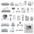 Big set of modern furnitures Stock Photos