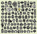 Big set of monsters and robots faces vector illustration Royalty Free Stock Photo