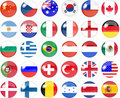Big set of national flag buttons Royalty Free Stock Photo