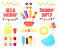 Big set of objects for summer party isolated on white background.