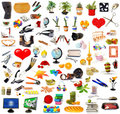 Big set of objects on white Stock Photos
