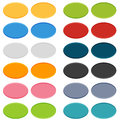 Big set of oval buttons in positions normal and on click pushed Stock Photos
