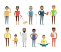 Big Set of People Characters Vectors in Flat Style Royalty Free Stock Photo