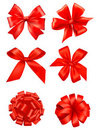 Big set of red gift bows with ribbons. Vector. Royalty Free Stock Images