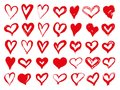 Big set of red grunge hearts. Design elements for Valentines day. Vector illustration heart shapes. Isolated on white