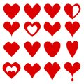 Big set of red heart love symbol icon on white, stock vector ill