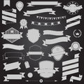 Big set retro design ribbons and badge vector design elements Royalty Free Stock Photography