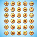 Big set of round buttons cartoon computer game Wild West Royalty Free Stock Photo