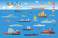 Big set of sea ships. Water carriage and maritime transport in flat design style. Vector illustration.