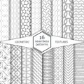 Big set of seamless patterns.Modern elegant linear textures.Regularly repeating geometrical backgrounds with hexagon,polygon,