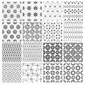 Big set of 16 seamless simple black and white patterns