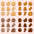 Big set, shaped cookies for Christmas and New Year