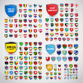 Big set of shields with the flags of the countries of South and