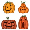 Big set of sketch pumpkins for Halloween decorated Royalty Free Stock Photo