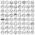 Big set of 64 smiles. Black smiles. VECTOR Royalty Free Stock Photo