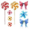 Big set of sweets elements made of red and yellow swirl lollipop sucker stick with a bow and hearts Royalty Free Stock Photo